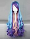 Perruques de lolita Punk Degrade de Couleur Long Violet Incanardin Bleu Perruque Lolita  80 CM Perruques de Cosplay Mosaique Perruque Pour