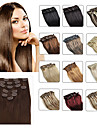 "clip en extensions de cheveux humains 20 ""-24"" blonde blanc (# 60) 8pcs / set"