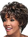kort bob fullt bang lockiga syntetiska peruker för kvinnor mörkbrun värmetålig billig hår