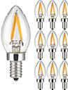 2W E14 Ampoules a Filament LED 2 COB 200 lm Blanc Chaud AC 100-240 V 10 pieces