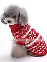 Câini Pulovere Îmbrăcăminte Câini Iarnă Fulg zăpadă Modă Crăciun Albastru Închis Rosu