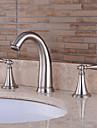 valve en ceramique a melangeurs trois trous pour le nickel brosse, salle de bains robinet d\'evier