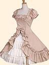Jupe Doux Princesse Cosplay Vetrements Lolita Blanc Incanardin Vert Noeud papillon Manches courtes Moyen Robe Pour Femme Coton