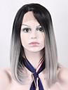 billiga kort bob två ton svart rötter gradvis förändring grå peruk för kvinnor axelhöjd rakt syntetisk spets främre peruk värmetålig