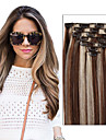 (7pcs / set&8pcs / set) la pleine tete reglee pince vierge brazilian dans les extensions de cheveux humains 70 g - 120 g de couleur