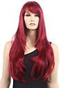 80cm långa raka syntetiska peruker vinröda syntetiska peruker markerade värmebeständigt cosplaya peruk