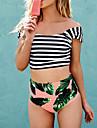 Femei Bikini Femei Cu Susținere Talie Înaltă / Floral Polyester