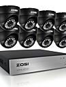 zosi®8ch cctv 8ch systeme 720p ahd cctv dvr 8pcs de cameras de securite hd ir 1.0 mp