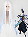 100cm remorquage ton couleur blanche ombre bleu perruque cosplay perruque de parti leger perruque resistant a droite thermique centre de
