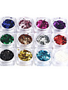 1 PCS Nail Art  Sequins In a Box Metallic Pentagram Sequins 3mm Small Size 12 Color In a Box