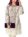 Damă Casul/Zilnic Plus Size Simplu(ă) Larg Rochie-Imprimeu Manșon Lung Stil Nautic Sub Genunchi Celofibră Poliester Toamnă Iarnă Talie