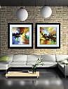 peinture a l\'huile abstraite decoration main toile peinte avec etire encadree - ensemble de 2