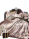 Seturi Duvet Cover Solid 4 Piese Poli/Bumbac Jacquard Poli/Bumbac 1pc Plapumă Duvet 2pcs Shams 1pc Cearceaf Plat