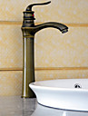 Antik Horisontell montering Singel Handtag Ett hål in Antik mässing Badrum Sink kran