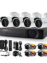 yanse® 4ch AHD-m 1200tvl CCTV-kamera dvr kit ir vattentät säkerhetssystem 720p