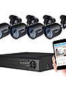 JOOAN® Security System 1080N 8CH DVR Recorder Support AHD/TVI/CVI/CVBS And 4pcs Weatherproof TVI 1080P Camera