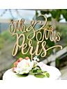 Vârfuri de Tort Personalizat Hârtie cărți de masă Nuntă Galben Temă Clasică Tema Vintage Tema rustic 1 Sac poli