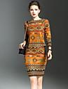 Dame Rotund Tricou Fustă Costume Ieșire Șic Stradă,Imprimeu Manșon Lung Primăvară-Oranj Mediu Poliester