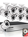 zosi® 8ch 1080p hdmi dvr 1tb hdd 8x systemes exterieurs 2.0MP etanches bullet ir-cut kit de camera de securite CCTV