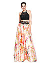 TS Couture Prom Formal Evening Dress - Two Pieces Color Block A-line Jewel Floor-length Lace Stretch Chiffon with Beading