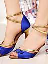 Chaussures de danse(Noir Bleu) -Personnalisables-Talon Personnalise-Satin-Latine