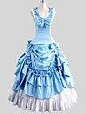 Outfits Gothic Lolita Victorian Cosplay Lolita Dress Blue Solid Sleeveless Ankle-length Skirt Dress For Women Cotton