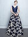 A-line v-gât de podea lungime dantelă tricou rochie de seară formal cu flori (e) cercevea / panglica