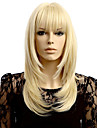 lige bølge blonde syntetisk parykker paryk pæn bang parykker kvinders hår varmebestandige syntetiske parykker
