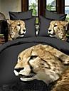 Animal 4 Pieces Imprime 1 x Housse de couette 2 x Taies d\'oreiller brodees 1 x Drap lit