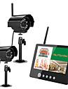 """Ennio 9 """"2.4G trådlös två kameror audio video barnvakter 4ch quad DVR säkerhetssystem ir nattlampa med mic"""