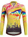 Maillot de Cyclisme Femme Manches longues VeloRespirable Sechage rapide Permeabilite a l\'humidite Zip frontal zip YKK Bandes