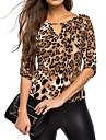Dame În V Tricou Casul/Zilnic Simplu(ă),Leopard Manșon Lung Toate Sezoanele-Negru Subțire Celofibră Poliester