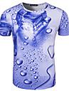 Bărbați Rotund Tricou Ieșire Elegant Simplu(ă) Activ,Imprimeu Manșon scurt Vară-Albastru Mediu Bumbac