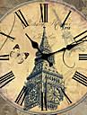 Traditionnel Rustique Retro Vacances Musique Famille Horloge murale,Rond Bois 34*34 Interieur/Exterieur Interieur Horloge