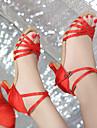 Damă Latin Satin Imitație de Piele Sandale Călcâi Înăuntru Performanță Antrenament Începător Profesional Cataramă Cravată PanglicăToc