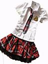 Costumes de Cosplay Etudiant/Uniforme d\'ecolier Fete / Celebration Deguisement d\'Halloween Rouge et Blanc Couleur Pleine Carnaval Feminin