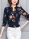 Stand Bluză Ieșire Muncă Plus Size Șic Stradă,Floral Manșon Lung Primăvară Vară-Subțire Poliester