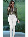 femei europene și americane&# 39; solid de culoare talie mare intindere denim pantaloni picioare de buzunar personalitate modele de