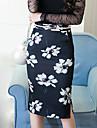 Dame Fuste-Bodycon ImprimeuIeșire Club Nuntă Sexy Vintage Șic Stradă-Talie Inaltă Lungime până la genunchi Fermoar Polyester Micro-elastic
