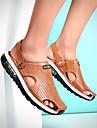 Bărbați Sandale Primăvară Vară Confortabili Mocasini Tălpi cu Lumini Pantofi hole Imitație de Piele Outdoor Casual Toc PlatNegru Cafea