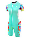 Malciklo Tenue de Triathlon Femme Manches Courtes Velo triathlon/Combinaison Triathlon Design Anatomique Respirable zip YKK Compression