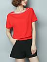 Damă În U Bluză Casul/Zilnic Plus Size Simplu(ă),Bloc Culoare Manșon scurt Vară-Subțire Celofibră Poliester