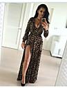 2016 noi europene și americane sexy leopard maxi v-gât rochie cu mâneci lungi împărțită lungimea fustei