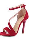 Femme-Mariage Habille Decontracte Soiree & Evenement-Noir Rouge-Talon Aiguille-Confort Nouveaute club de Chaussures-Sandales-Laine