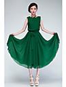 verde / rochie pentru femei sifon negru, cu maneci scurte cu centura