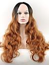 Femme Perruque Synthetique Sans bonnet Long Ondules Marron Perruque Naturelle Perruque Deguisement