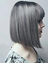 varm stil grå blandade silver två toner natual bob frisyr med raka smällar syntetiska Capless peruker