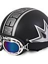 Unisexe nouveau ete vintage moto casques ouvert visage demi moto&Casque de lunettes