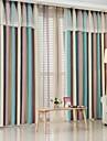Două Panouri Tratamentul fereastră European , Dungi Dormitor Amestec In / Bumbac Material Blackout Perdele Draperii Pagina de decorareFor