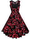 Damă Ieșire Nuntă Plus Size Vintage Swing Rochie-Floral Fără manșon În V Midi Bumbac Vară Talie Medie Inelastic Mediu